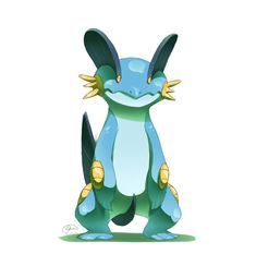 Swampert is amazing Water Type Pokemon, Pokemon W, Pokemon Funny, Pikachu, Character Concept, Concept Art, Pokemon Starters, Mudkip, Video Game Characters