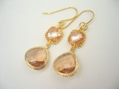 Rosaline, Champagne,  Glass Gold Trimmed Dangle Earrings, Bridesmaids Jewelry, Bridal Jewelry