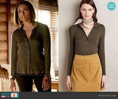 Bonnie's green ribbed button down shirt on The Vampire Diaries.  Outfit Details: https://wornontv.net/58030/ #TheVampireDiaries