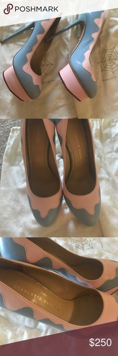 pink blue high heels Charlotte Olympia high heels!nice and really really only wear once as the color is not my usual style!i put the tape on the shoes bottom to protect it!very nice condition!size 7.5!original price is around6/700 dont remember! Charlotte Olympia Shoes Heels