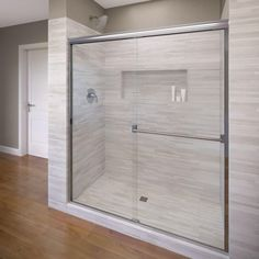 Basco Classic H x to W Semi-Frameless Bypass/Sliding Chrome Shower Door (Clear Glass) at Lowe's. Basco Classic semi-frameless glass shower doors enhance the look of any bathroom with bypass shower panels free from aluminum framing. Framed Shower Door, Frameless Sliding Shower Doors, Sliding Doors, Glass Shower Enclosures, Stall Shower, Shower Units, Shower Panels, Shower Screens, My New Room