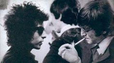 Bob Dylan and John Lennon - one of their meetings during the Beatles' American tour.