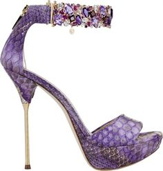 ~~purple snake, gold stiletto heel with bejeweled ankle strap~~