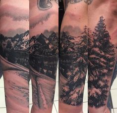 Snowboarding inspired mountain tattoo by Zoey Taylor