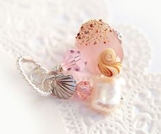 Seaglass Pendant - beach pink lampwork glass bead on sterling silver with pearl, jewelry by MayaHoney, P32