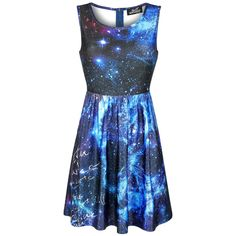 Dress from Full Volume by EMP: - Galaxy all-over print - Skater dress - Fastener: zip on the back Don't let boring designs send you to sleep. With funky threads like this Galaxy Dress from Full Volume by EMP, you've always got something perfect at hand to act out the crazy in you. The short dress has a trendy all-over galaxy print and fastens with a zip at the back.