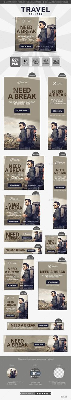 Travel Banners Template #design #ads Buy Now: http://graphicriver.net/item/travel-banners/12876776?ref=ksioks