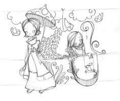croquis aux croayons, crayons gris, dessin au crayon, esquisse au crayon gris, deux filles, parapluie, pluie, nuage, oiseaux, dessin poétique, poésie de la pluie, kemia illustration, illustration au crayon gris