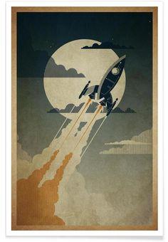 Night Launch als Premium Poster von Danny Haas | JUNIQE