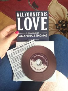 My amazing wedding invitation with lots of beautiful Beatles songs on the Cd, great idea thank you Sam & Tom ❤️