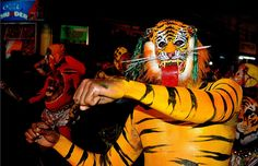 Pulikali (Tiger dance) during Onam festival in KERALA. A veritable feast for the eyes