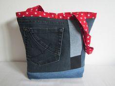 Patchworktasche klein rot Sternchen von Nadine´s Handmade auf DaWanda.com
