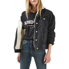 Women's Topshop Moto Borg Lined Denim Jacket ($125) ❤ liked on Polyvore featuring outerwear, jackets, washed black, faux fur jacket, jean jacket, fleece-lined jackets, faux fur lined jacket and oversized jackets