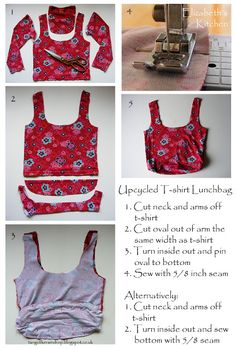 Has your child outgrown his/her favourite tshirt? Transform it into this Upcycled T-Shirt Lunchbag! Reuse Clothes, Old Clothes, Recycled T Shirts, Old T Shirts, Love Sewing, Refashion, Fabric Crafts, Sewing Ideas, Sewing Projects