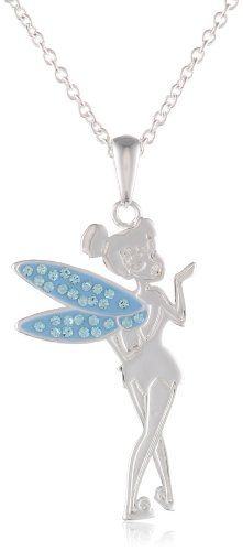 033e560c5b AstroGlances.com » Girls Disney Tinkerbell Silver Plated Brass Crystal Wing  Pendant Enhancer