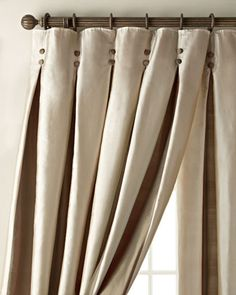 Inverted Pleat Curtains by Amity Home at Horchow. Absolutely love these to the moon and back, but the price is rather daunting... though time consuming, could be mimicked relatively easily with a wide striped fabric...