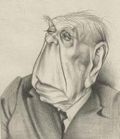 Borges todo el año: Jorge Luis Borges: Al vino y Soneto del vino - Caricatura de Borges por David Pugliese