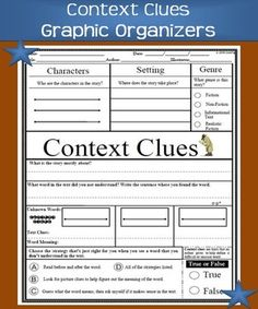 """Context Clues Graphic OrganizerSimilar Resources: Compare and Contrast """"Characters""""Problem and Solution Graphic OrganizerStory Structure: PlotUnderstanding CharactersDeveloping Questions/Wondering Graphic OrganizerGuided Reading:Theme Graphic Organizer"""