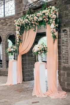 30 Coral Wedding Decor Ideas We Are Obsessed With - PACIFIC ENGAGEMENTS - Light Coral Wedding Curtains Romantic wedding ceremony backdrop curtains ceremony Bridal Party ceremony Night ceremony Seating Coral Wedding Decorations, Coral Wedding Colors, Wedding Entrance Decoration, Table Decoration, Church Decorations, Wedding Entrance Table, Backdrop Decorations, Ceremony Decorations, Wedding Arrangements