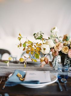 fall wedding table florals