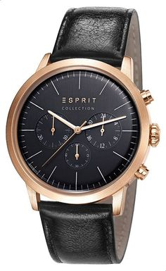 Esprit leather Casual Watch For Men Black Casual Watches, Watches For Men, Latest Watches, Casio, Omega Watch, Latest Fashion, Michael Kors, Egypt, Leather