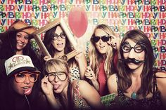 frames, glasses, hats. We could totally do this with one of those happy birthday table cloths at the dollar general @Lisa Phillips-Barton Phillips-Barton Alcala