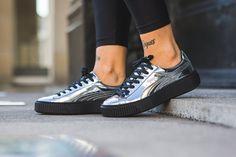 puma basket platform metallic silver gold red brown sneakers creepers