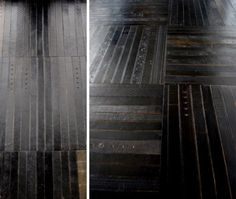 Recycled leather belt floor tiles