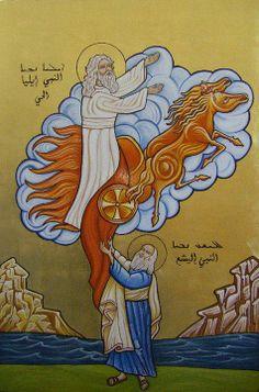 holy prophet elijah being taken up in a whirlwind