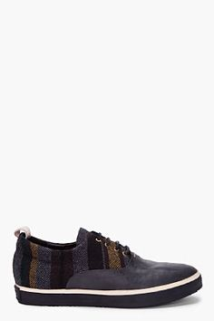 RAG & BONE Charcoal Striped Thompson Sneakers