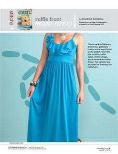Pattern: Ruffle Front Maxi Dress - Media - Sew Daily. Pattern pieces only, no instructions.