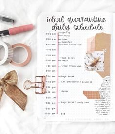 Quarantine routine bullet journal spread inspiration by timetable Self Care Bullet Journal, Bullet Journal Writing, Bullet Journal Notebook, Bullet Journal Aesthetic, Bullet Journal Ideas Pages, Bullet Journal Spread, Bullet Journal Layout, Bullet Journal Inspiration, Planners