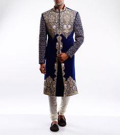 Sidharth K Kakkar Royal Blue Embroidered Velvet Sherwani #RoyaBlue, #Silk, #Embroidered
