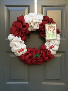 Christmas wreath burlap christmas wreath merry by TheClassyGoose