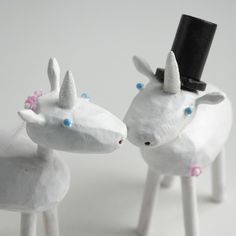 Bride and Groom Unicorns for your Wedding by bunnywithatoolbelt, $85.00 - but with two brides.....