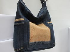 Jeans bag with cork dark blue shoulder bag made from used jeans Wegwarte XXIII Cork Fabric, Denim Fabric, Cotton Fabric, Blue Shoulder Bags, Shoulder Bags For School, Dark Denim, Blue Denim, Dark Blue, Blue And White