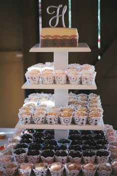 A wedding cupcake tower | Camarillo Ranch | Camarillo, CA | camarilloranch.org