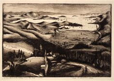 The Bay, San Francisco (View from Mill Valley over the Bay) -- Werner Drewes, born Canig, Germany 1899-died Reston, VA 1985