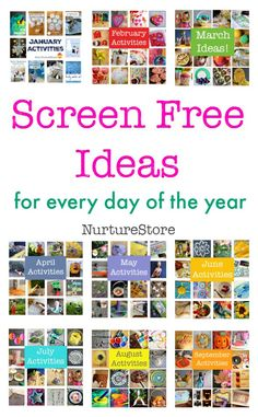 Screen free ideas for kids for every day of the year :: monthly kids activities plans :: seasonal activities for children :: easy screen free ideas - Screen-Free Educational Activities Free Activities For Kids, Rainy Day Activities, Preschool Activities, Nutrition Activities, Educational Activities, Nutrition Classes, Family Activities, Learning Through Play, Kids Learning