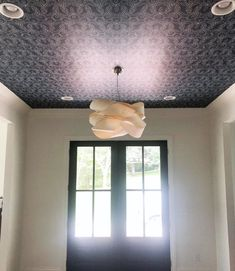 Entryway wallpaper we installed in Nashville TN Wallpaper Ceiling, Beautiful Wallpaper, Nashville, Entryway, Ceiling Lights, Home Decor, Colorful Wallpaper, Appetizer, Homemade Home Decor