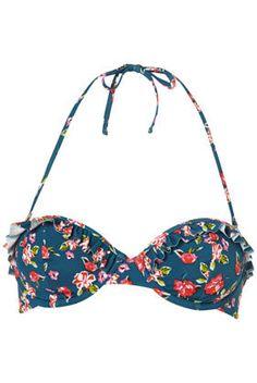 Teal Iris Floral Bikini Top - Swimwear  - Apparel  - Topshop USA