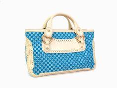 CELINE Macadam pattern Boogie bag Hand bag Leather/Canvas Blue(BF045393)