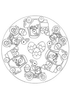 easter bunny and egg mandala Easter Coloring Pages, Mandala Coloring Pages, Coloring Book Pages, Easter Art, Easter Crafts, Easter Bunny, Sacred Geometry Art, Easter Colors, Easter Printables
