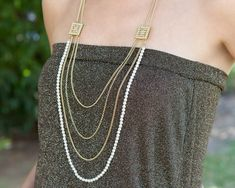 Multistrand necklace, pearl strand necklace, multi layer necklace, long layered necklace, layered and long, statement necklace