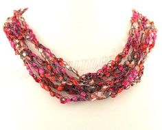 7 free patterns for crochet ribbon ladder yarn necklaces