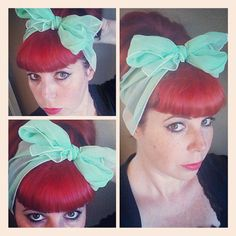 Light Mint Green Vintage Style Hair Scarf Headwrap Hair Bow 1940s 1950s Rockabilly - Pin Up - For Women, Teens
