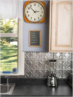 Install a Tin Tile Backsplash - 24 Low-Cost DIY Kitchen Backsplash Ideas and Tutorials