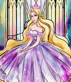 Rapunzel in her new and beautiful ballgown dress Disney Canvas Art, Disney Artwork, Disney Drawings, Cute Disney, Disney Girls, Disney Style, Disney Tangled, Disney Pixar, Disney Characters