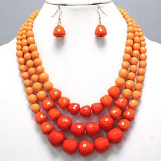 Bold Chunky Shades of Orange Layered Earrings Necklace Set Costume Jewelry