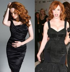 Christina Hendricks, with and without Photoshop.  Did they seriously photoshop out her hips?  Really?
